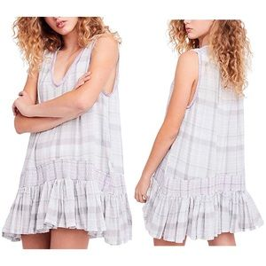L Run With Me Gray Plaid Swing Dress Embroidered